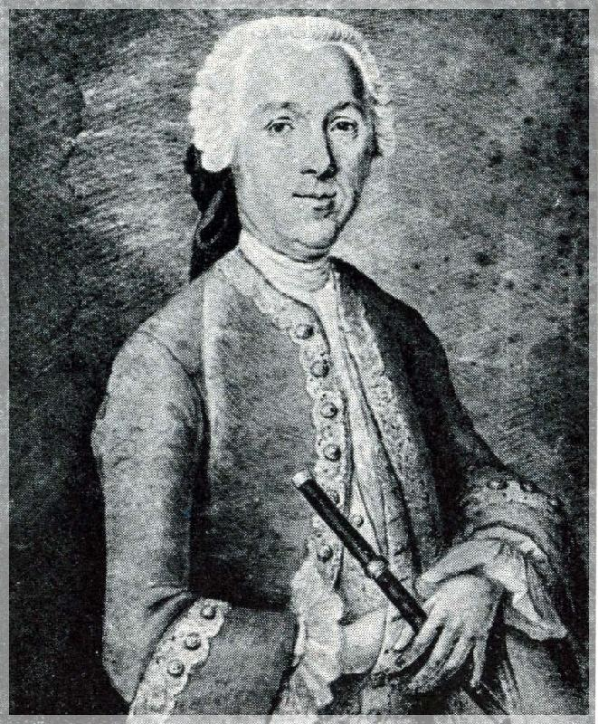 Portrait of Quantz (ca. 1767) by Heinrich Christoph Franke, Berlin, Staatsbibliothek, Musikabteilung (formerly owned by Carl Philipp Emanuel Bach)